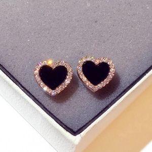 NEW Rose Gold Black Diamond Heart Stud Earrings